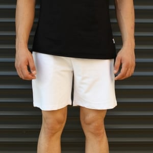 Men's Basic Fleece Sport Shorts New White Mv Premium Brand - 2