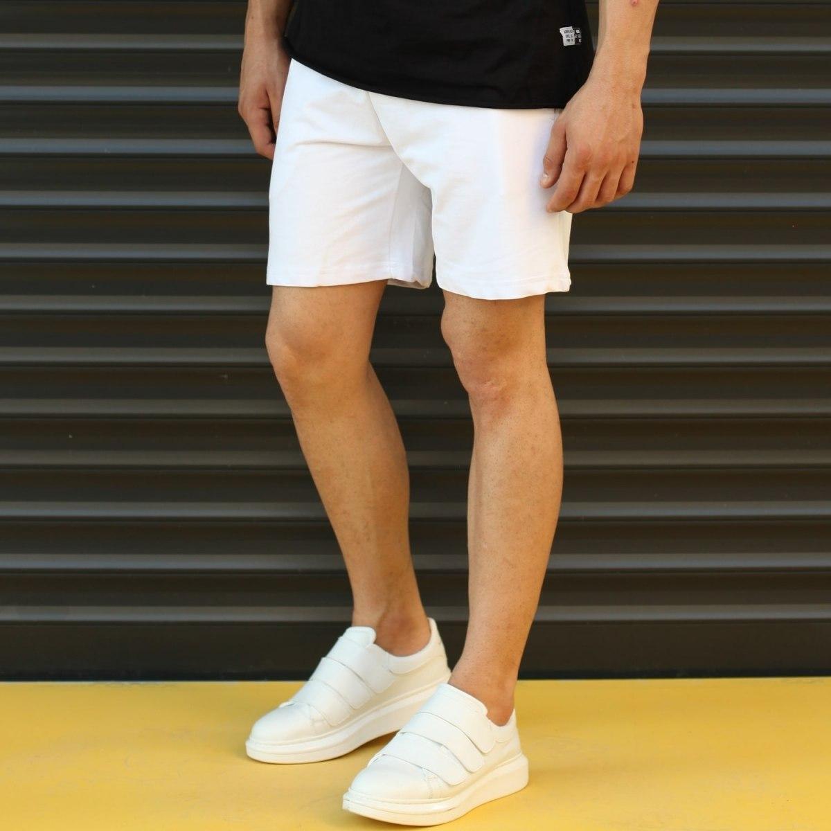 Men's Basic Fleece Sport Shorts New White Mv Premium Brand - 3