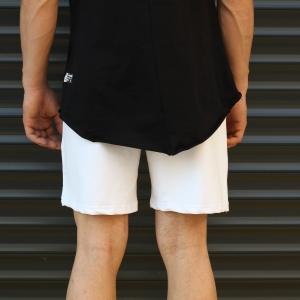 Men's Basic Fleece Sport Shorts New White Mv Premium Brand - 4