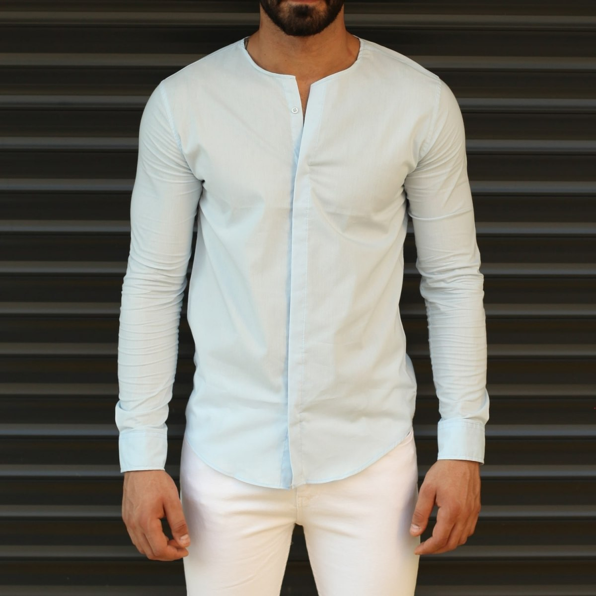 Men's New Age Fitted Collarless Shirt In White