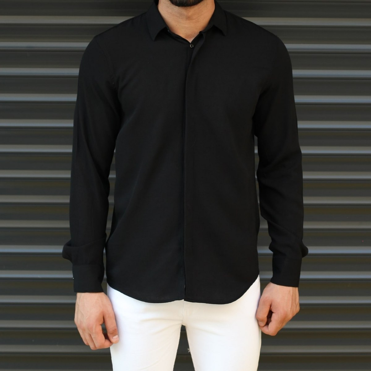 Men's Basic Stylish Casual Shirt In Solid Black Mv Premium Brand - 1