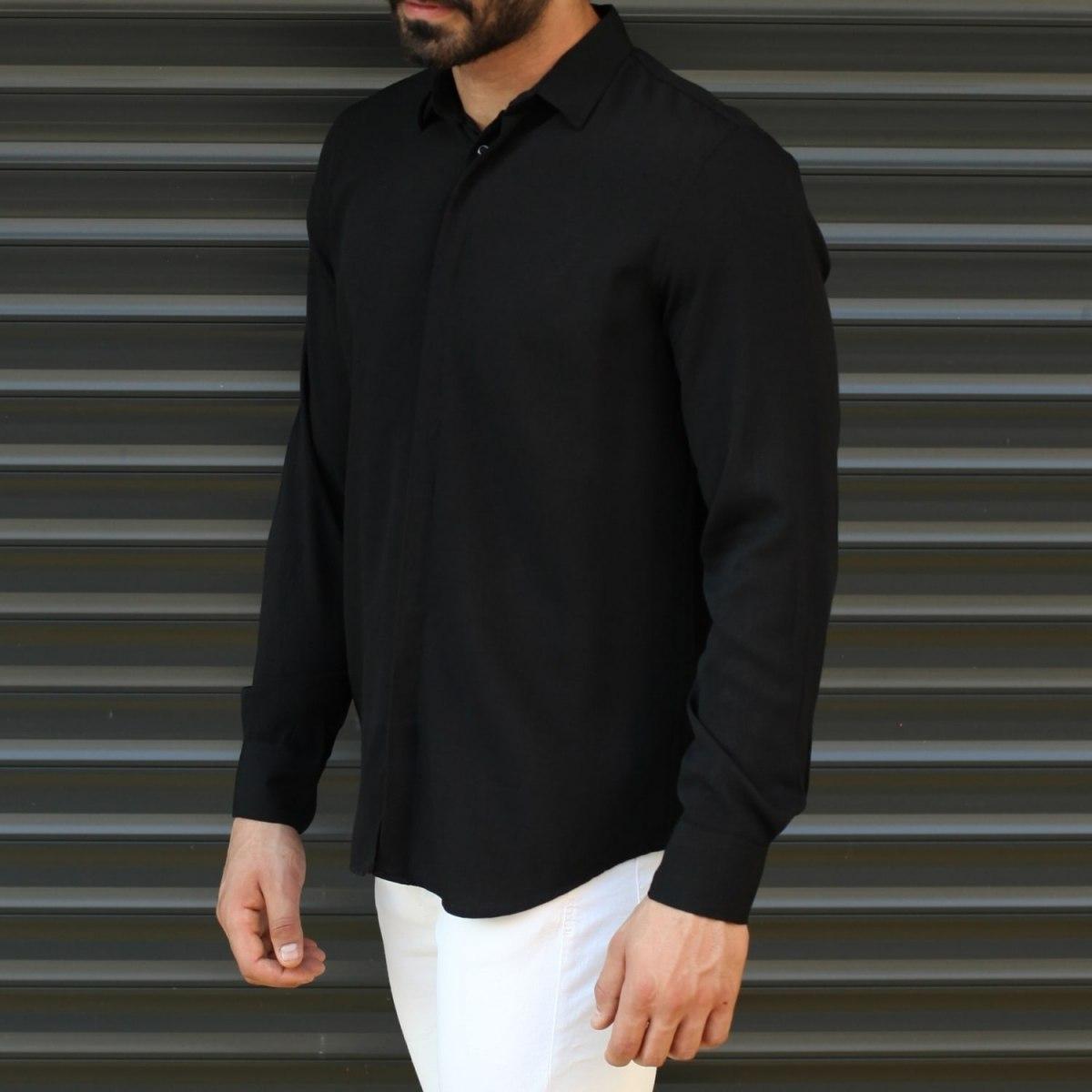 Men's Basic Stylish Casual Shirt In Solid Black Mv Premium Brand - 2