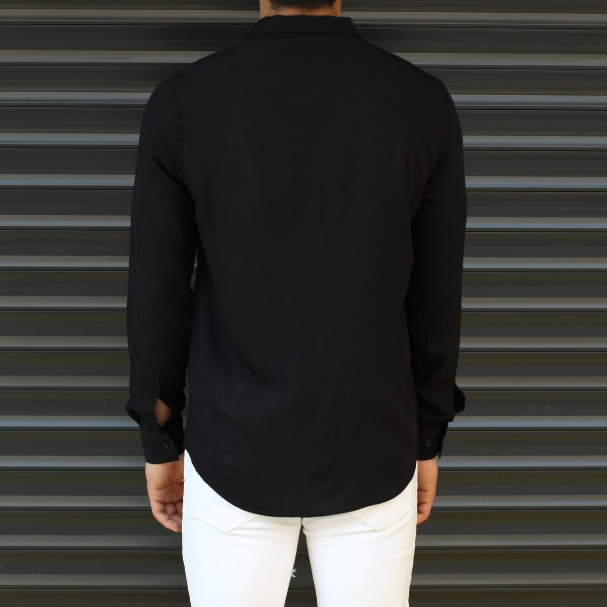 Men's Basic Stylish Casual Shirt In Solid Black Mv Premium Brand - 3