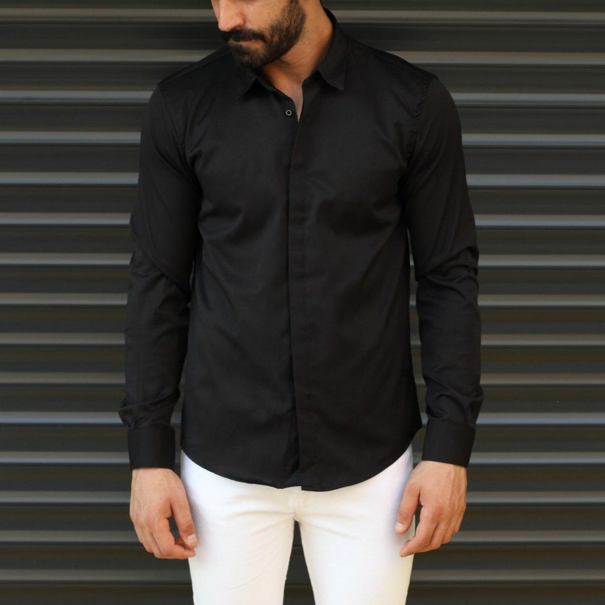 Men's Button Down Fitted Casual Shirt Vivid Black Mv Premium Brand - 1
