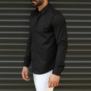 Men's Button Down Fitted Casual Shirt Vivid Black Mv Premium Brand - 2