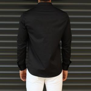 Men's Button Down Fitted Casual Shirt Vivid Black Mv Premium Brand - 3