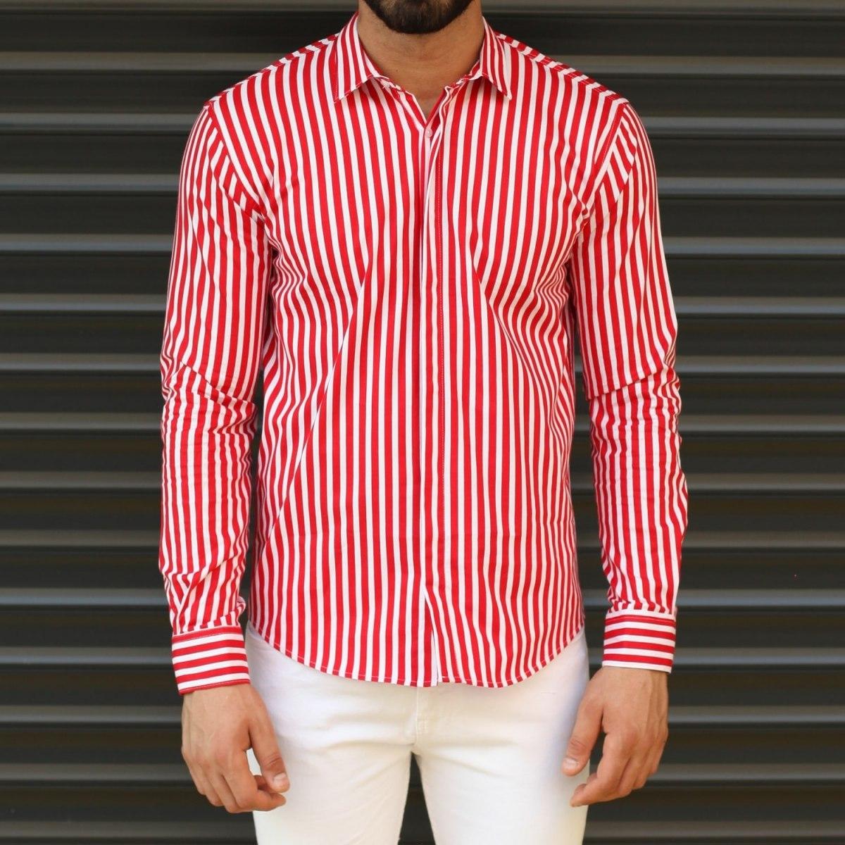 Men's Striped Slim Fit Casual Shirt In Red Mv Premium Brand - 1