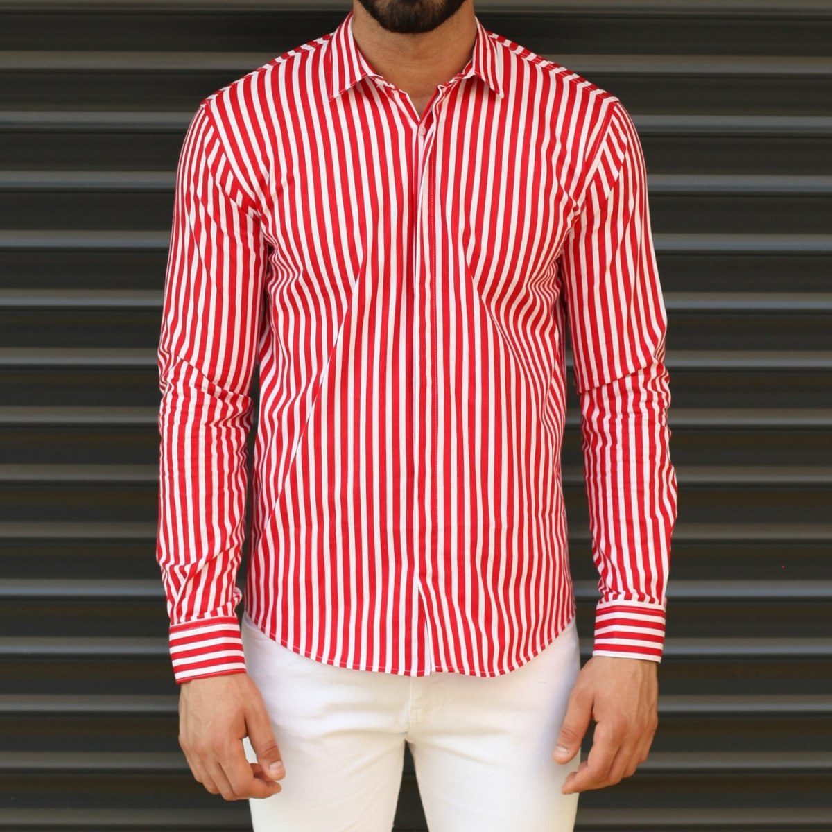 Men's Striped Slim Fit Casual Shirt In Red