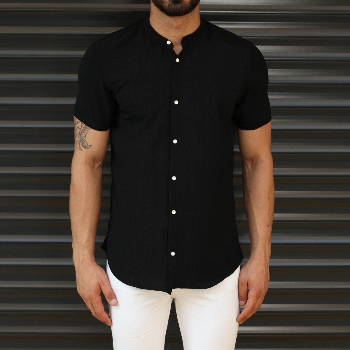 Men's Short Sleeve Grandad Collar Shirt In Black Mv Premium Brand - 1