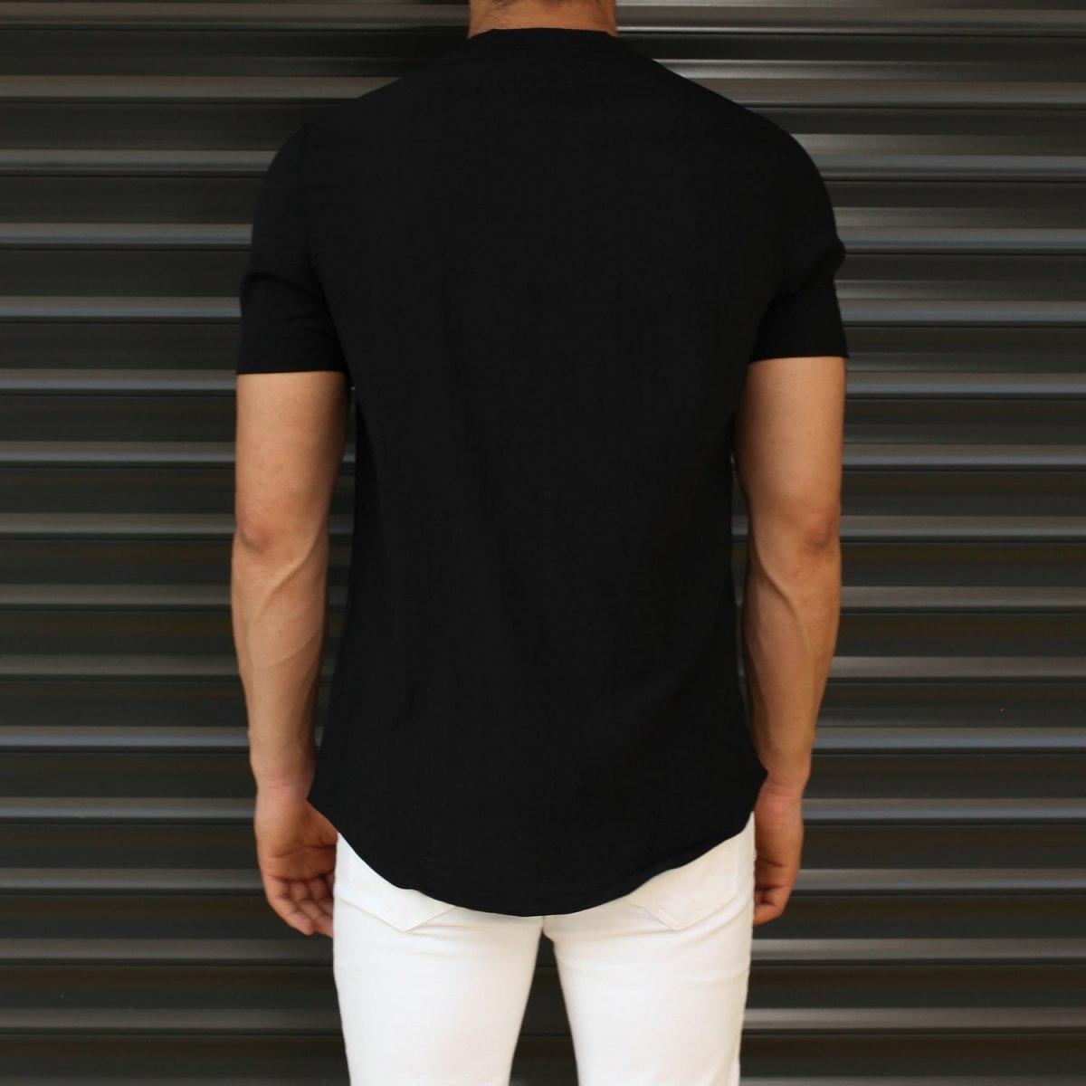 Men's Short Sleeve Grandad Collar Shirt In Black Mv Premium Brand - 3