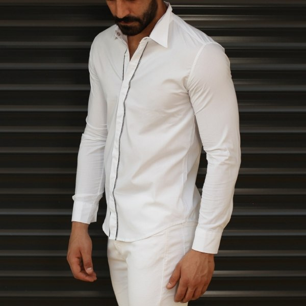 Men's Zipper Design Button...