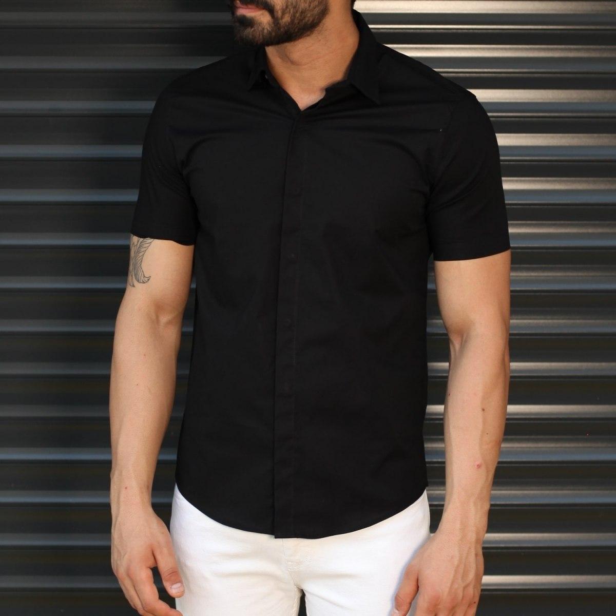 Men's Hidden Button Short Sleeve Muscle Fit Shirt In Black Mv Premium Brand - 1