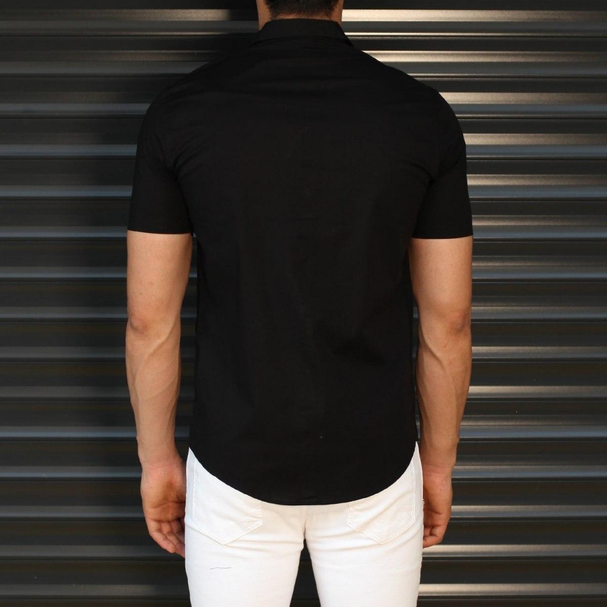 Men's Hidden Button Short Sleeve Muscle Fit Shirt In Black Mv Premium Brand - 3