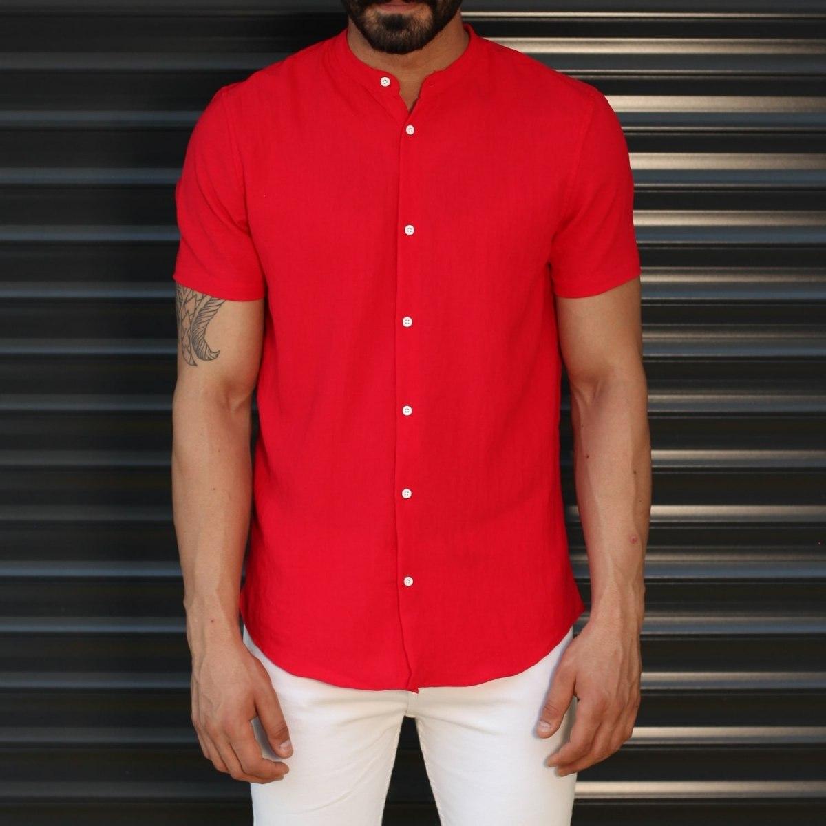 Men's Short Sleeve Grandad Collar Fit Shirt In Red