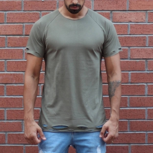 Men's Round Neck Stylish T-Shirt With Rips In Khaki MV T-shirt Collection - 1