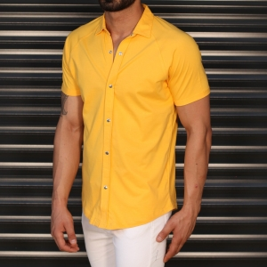 Men's Button Short Sleeve Muscle Fit Shirt In Yellow Mv Premium Brand - 2