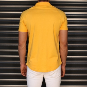 Men's Button Short Sleeve Muscle Fit Shirt In Yellow Mv Premium Brand - 3