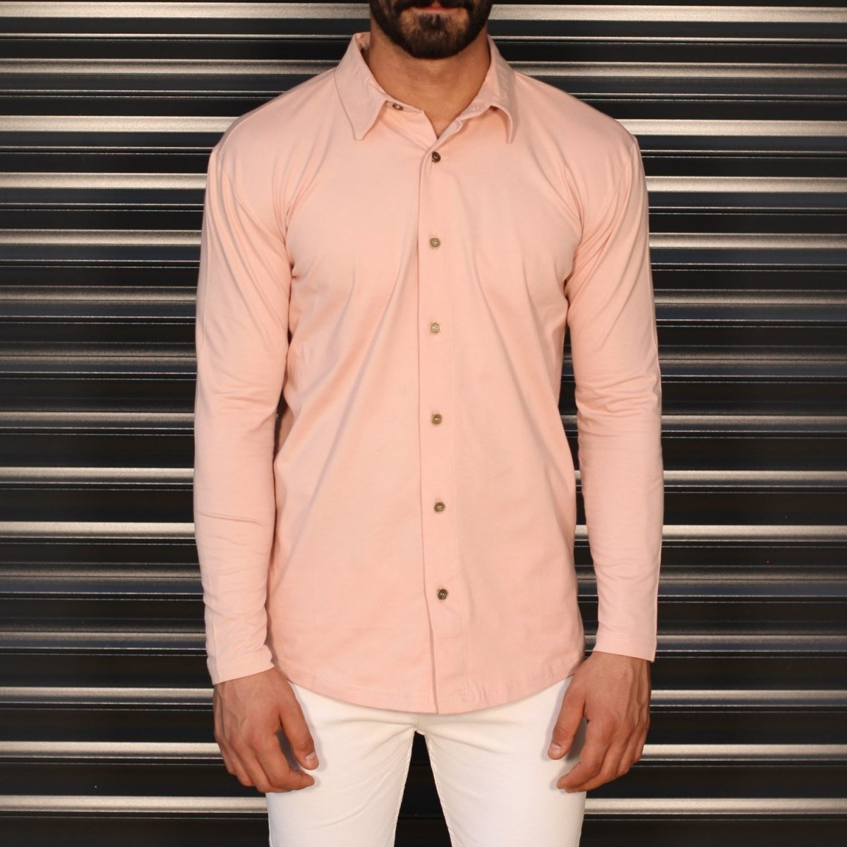 Men's Regular Long Sleeve Casual Shirt In Pink Mv Premium Brand - 1