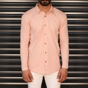 Men's Regular Long Sleeve Casual Shirt In Pink Mv Premium Brand - 1