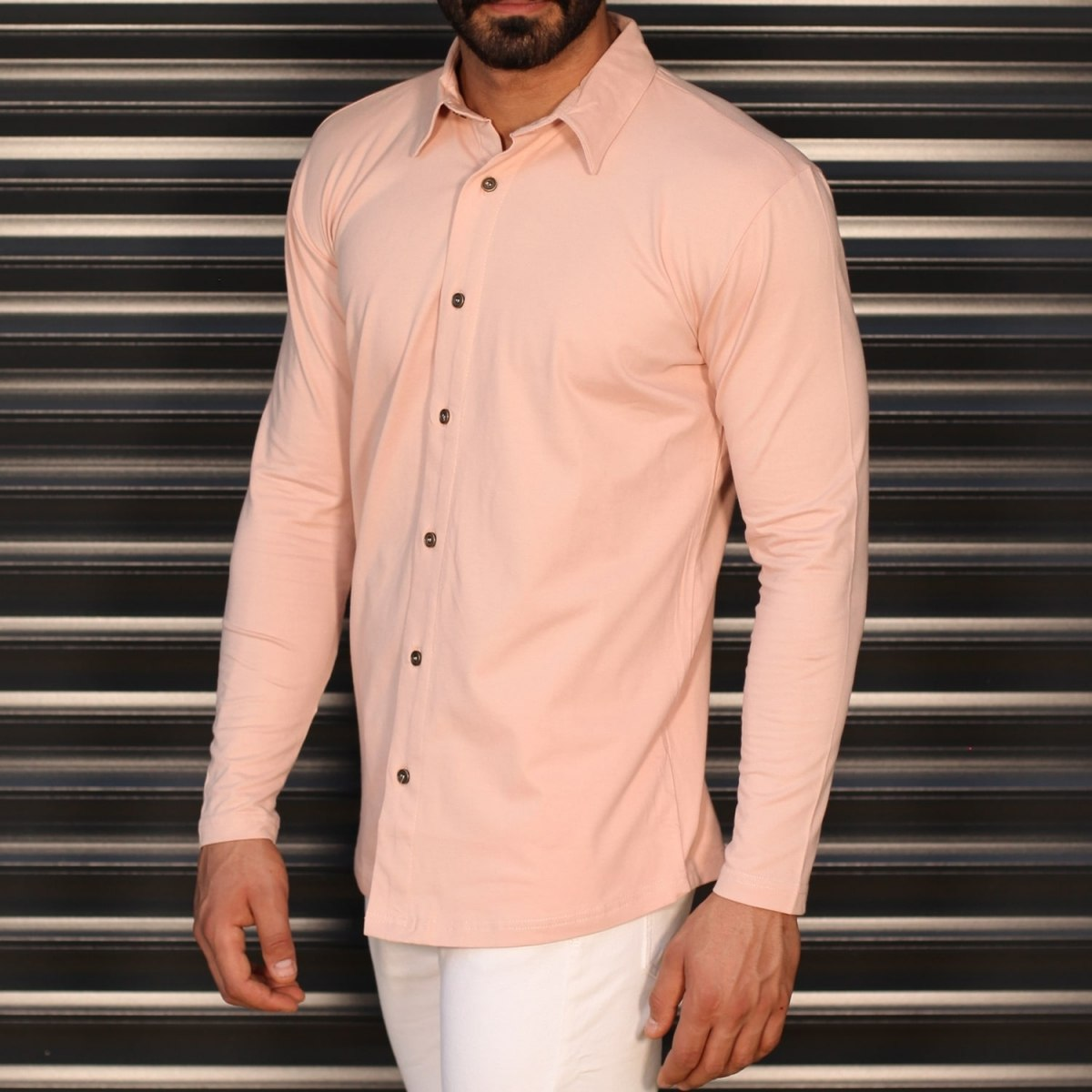 Men's Regular Long Sleeve Casual Shirt In Pink Mv Premium Brand - 2