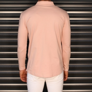 Men's Regular Long Sleeve Casual Shirt In Pink Mv Premium Brand - 3
