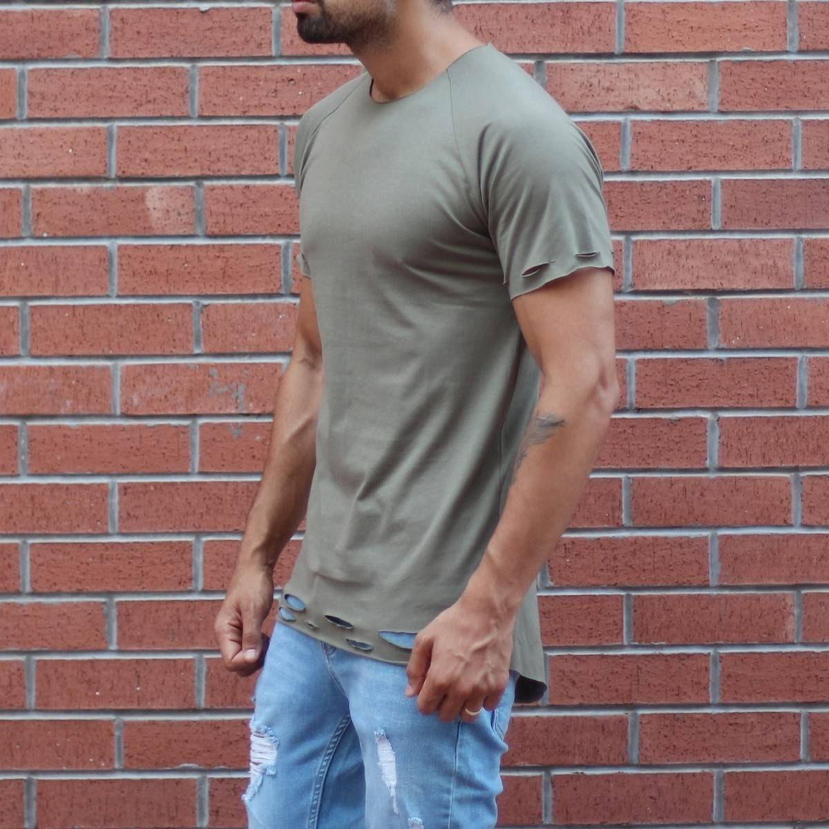 Men's Round Neck Stylish T-Shirt With Rips In Khaki MV T-shirt Collection - 2