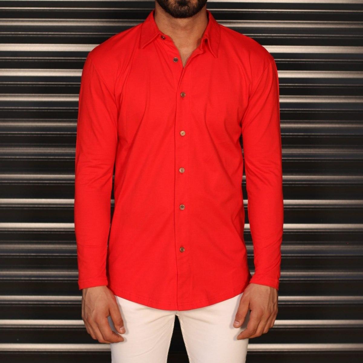 Men's Regular Long Sleeve Casual Shirt In Red Mv Premium Brand - 1