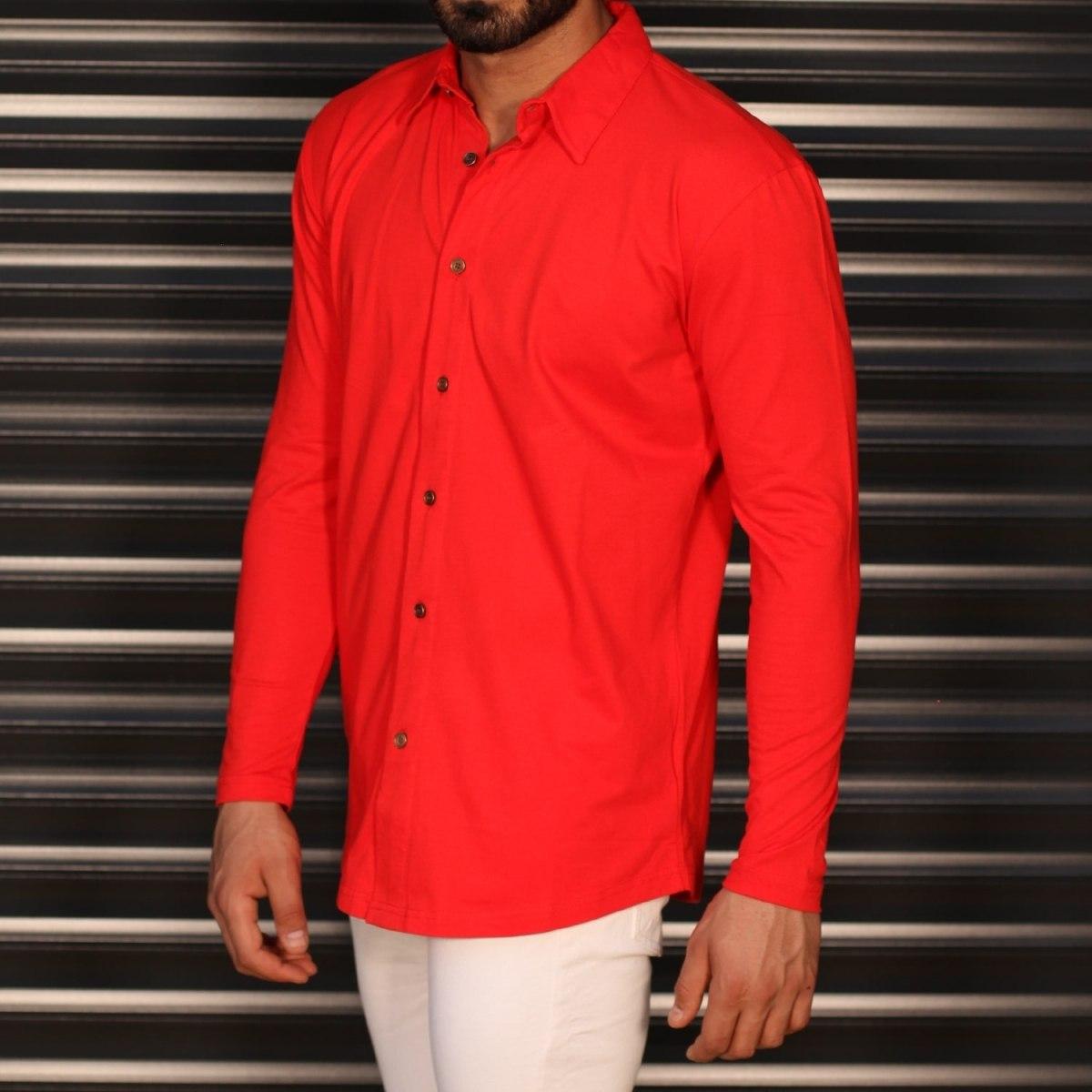 Men's Regular Long Sleeve Casual Shirt In Red Mv Premium Brand - 2