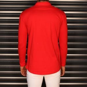 Men's Regular Long Sleeve Casual Shirt In Red Mv Premium Brand - 3