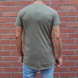 Men's Round Neck Stylish T-Shirt With Rips In Khaki MV T-shirt Collection - 3