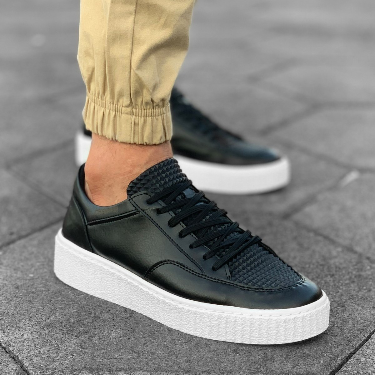 Herren Street-Pump Sneakers in Schwarz-Weiß Mv Premium Brand - 1
