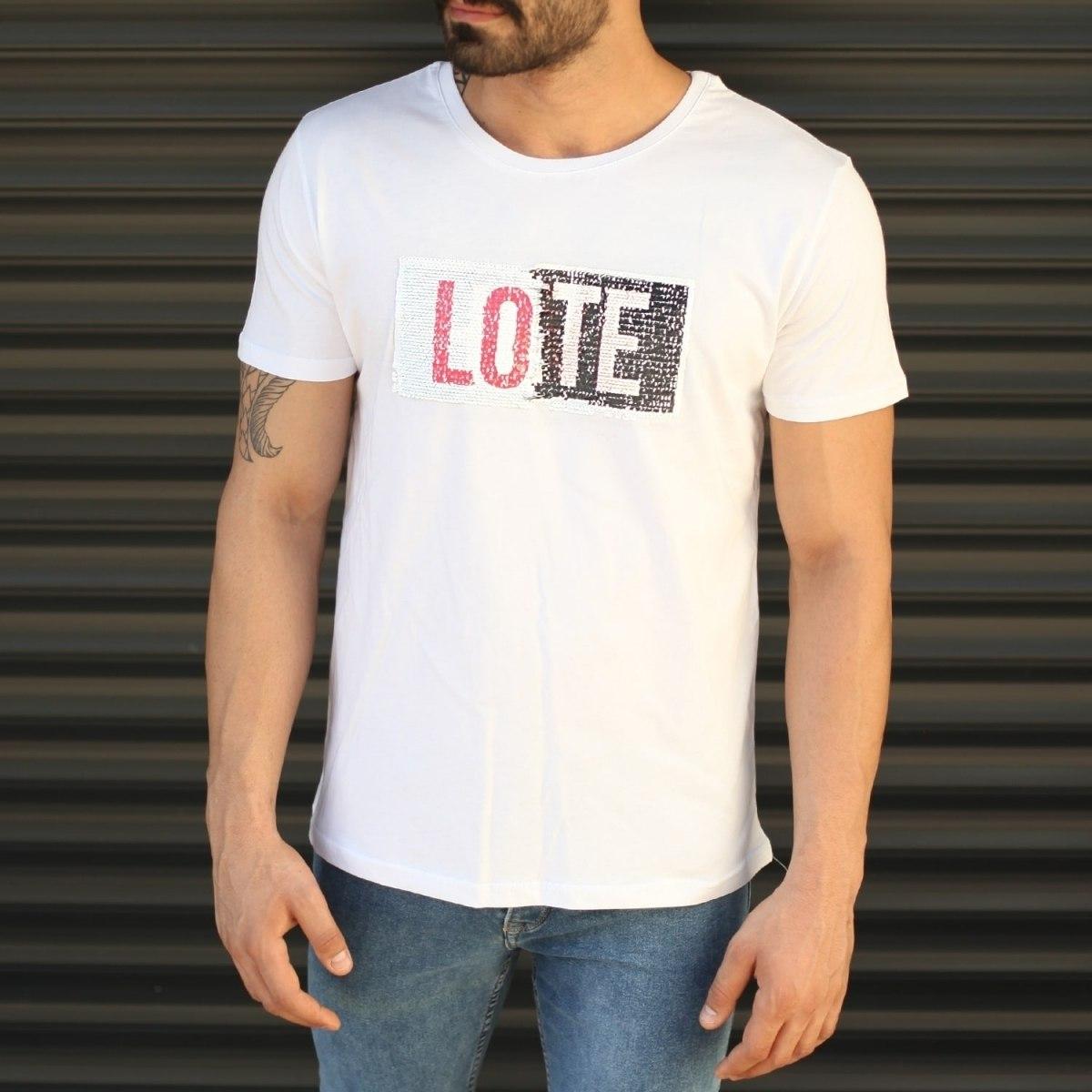 Men's Love Printed Crew Neck T-Shirt In White Mv Premium Brand - 3