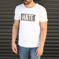 Men's Love Printed Crew Neck T-Shirt In White Mv Premium Brand - 2