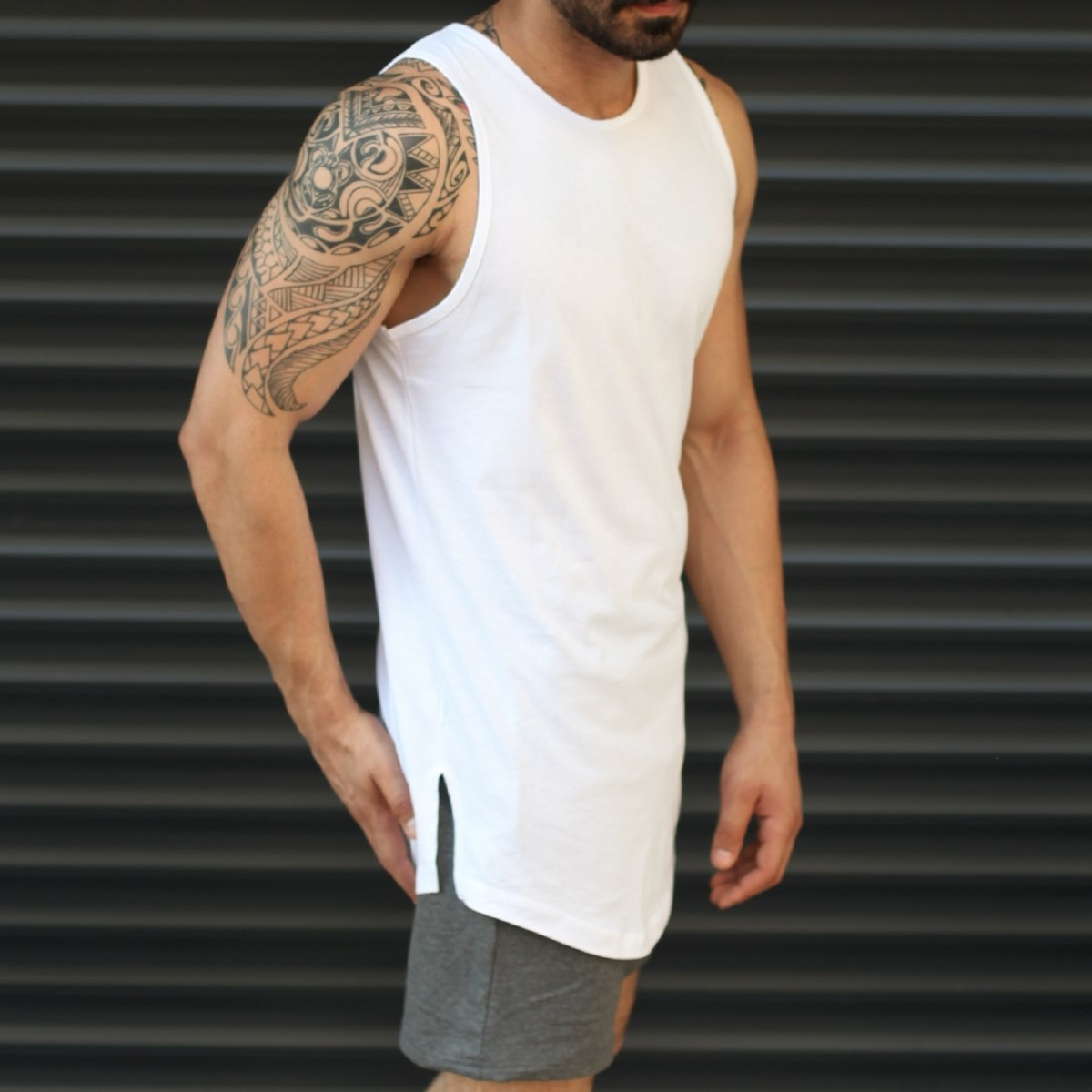 Men's Athletic Longline Tank Top White Mv Premium Brand - 1