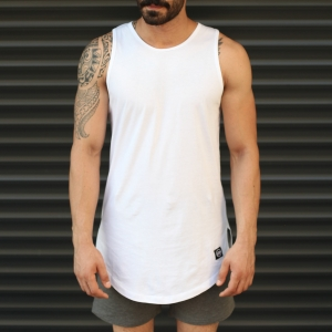 Men's Athletic Longline Tank Top White Mv Premium Brand - 2