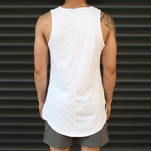 Men's Athletic Longline Tank Top White Mv Premium Brand - 3