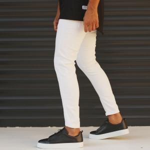 Men's Jeans With Rips In White Mv Premium Brand - 3