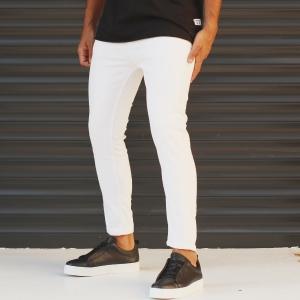 Men's Jeans With Rips In White Mv Premium Brand - 2