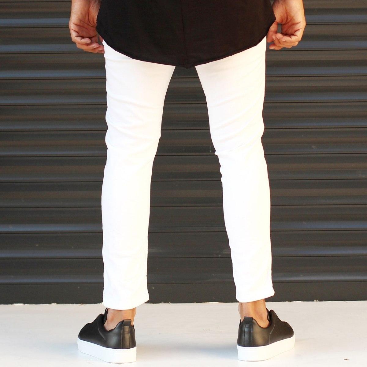 Men's Jeans With Rips In White Mv Premium Brand - 4