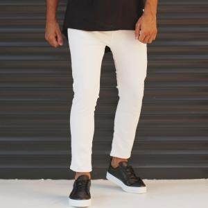 Men's Jeans With Rips In White Mv Premium Brand - 1
