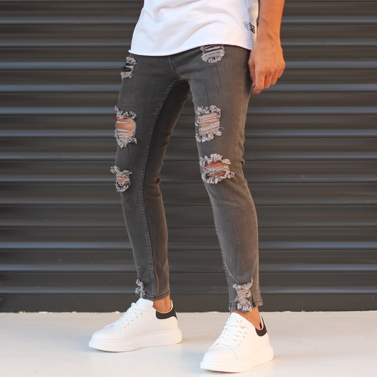 Men's Jeans With Rips In Anthracite Mv Premium Brand - 2