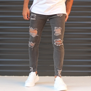 Men's Jeans With Rips In Anthracite Mv Premium Brand - 1
