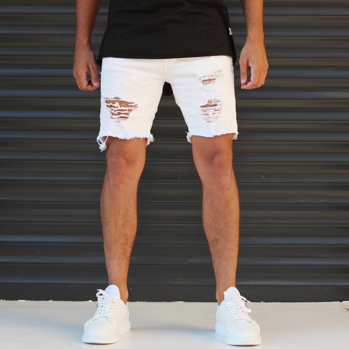 Men's Jean Short With Rips In White Mv Premium Brand - 1