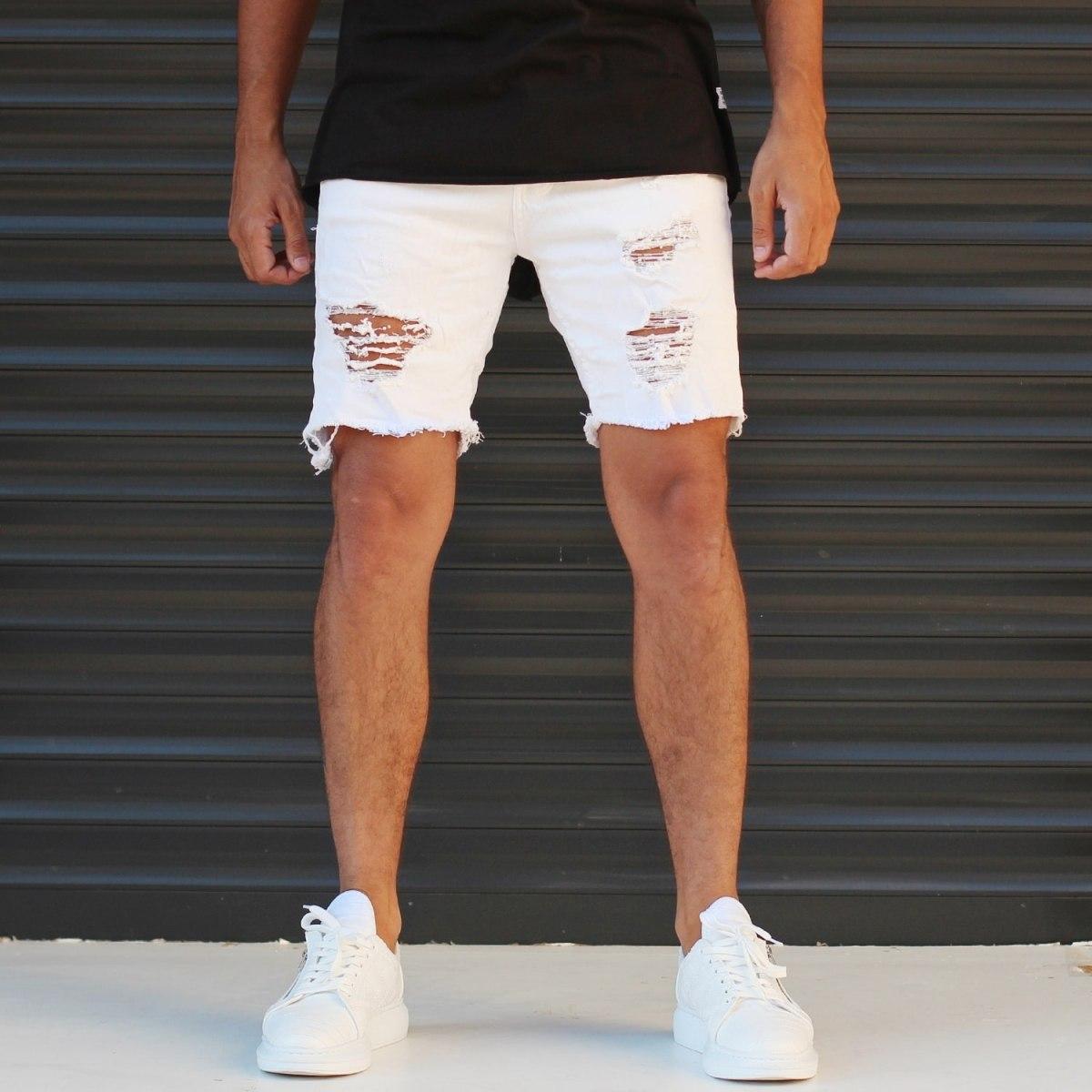 Men's Jean Short With Rips In White Mv Premium Brand - 1