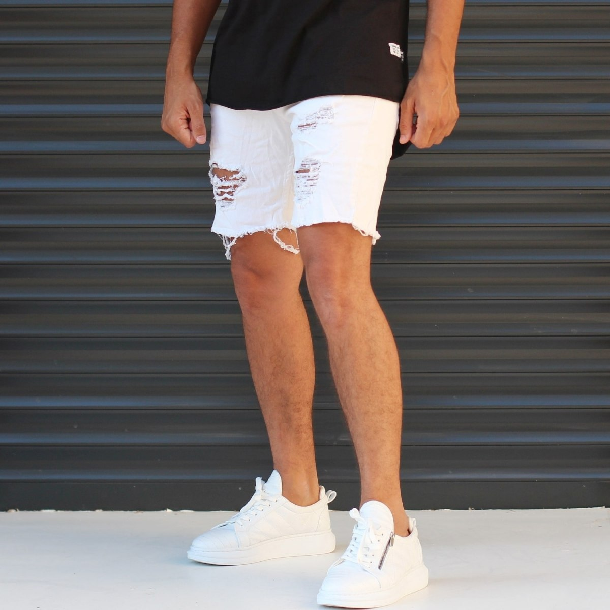 Men's Jean Short With Rips In White Mv Premium Brand - 2