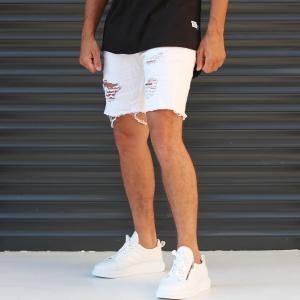 Men's Jean Short With Rips In White Mv Premium Brand - 2