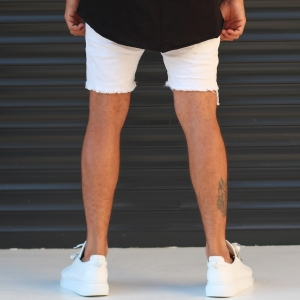 Men's Jean Short With Rips In White Mv Premium Brand - 3