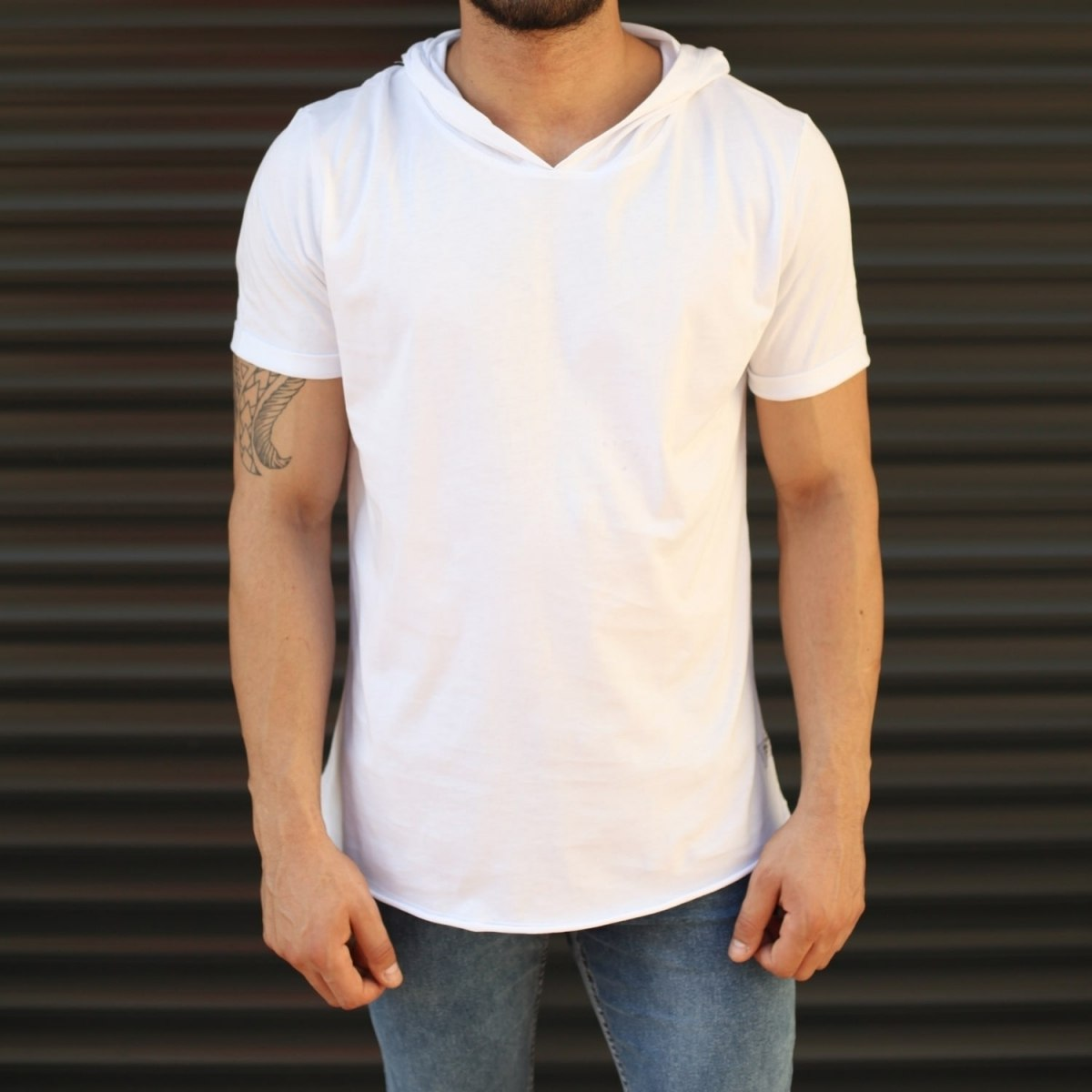 Men's Hooded Longline Basic T-Shirt White