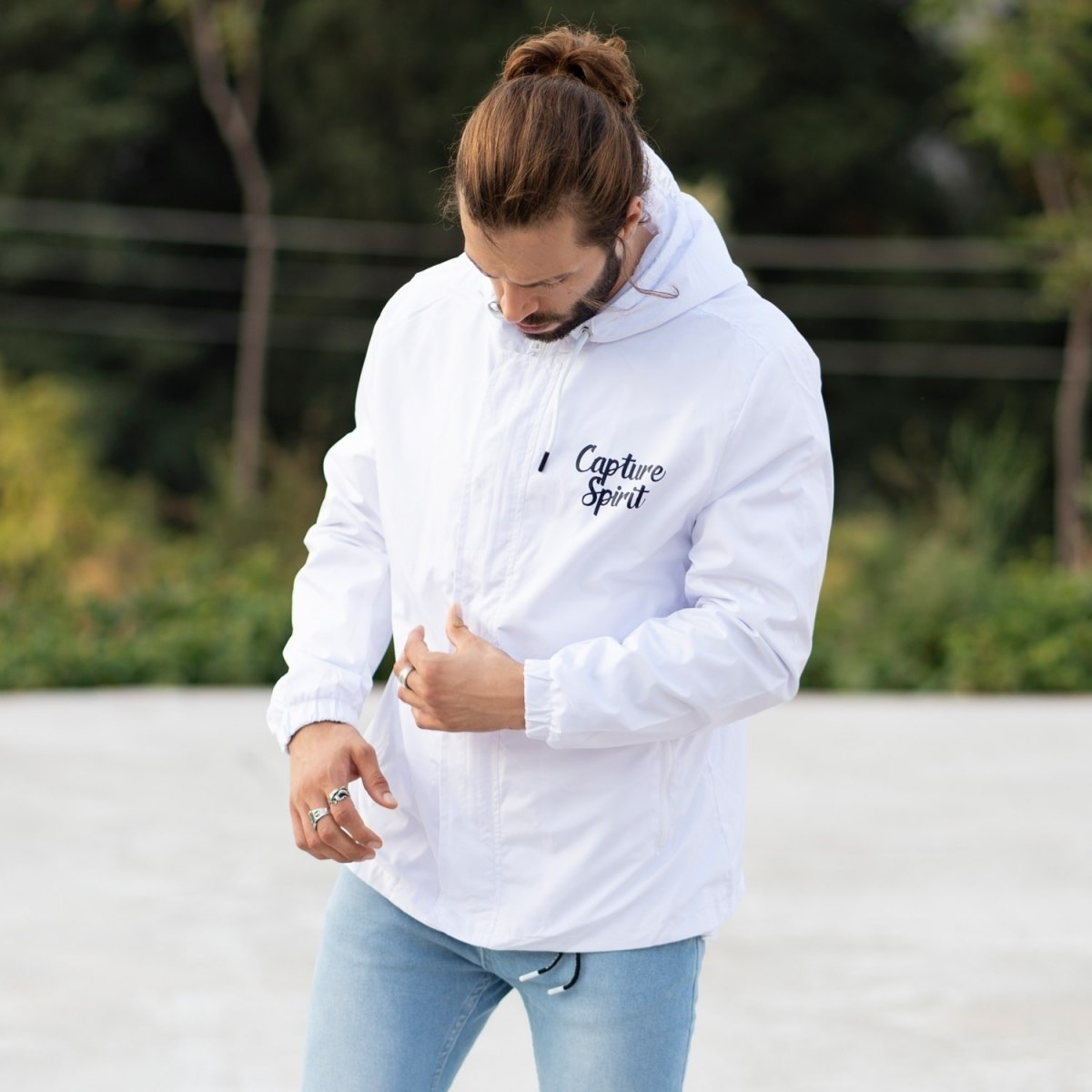 MV Autumn Collection Rainproof Hoodie with Details in White MV Jacket Collection - 1