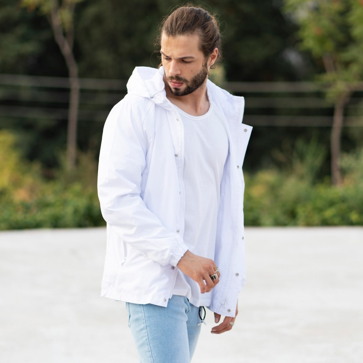 MV Autumn Collection Rainproof Hoodie with Details in White MV Jacket Collection - 3